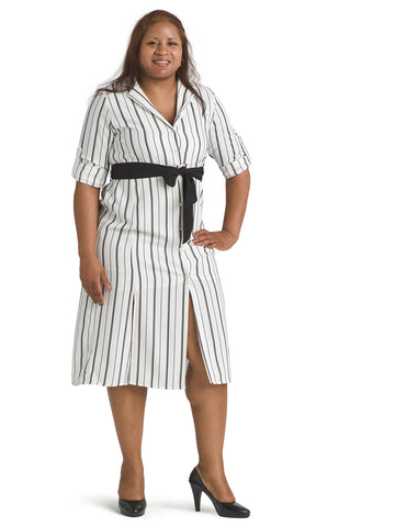 Button-Front Black And White Stripe Dress