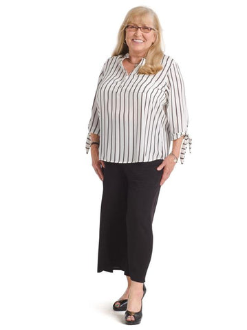 Tie Sleeve Black And White Stripe Top