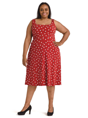 Polka Dot Empire Waist Fit And Flare Dress