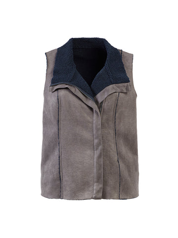 Faux Fur Seude Grey Vest