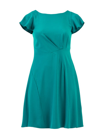 Dynasty Green Curved Seam Flutter Sleeve Dress