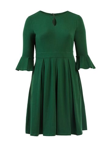 Pleat Detail Green Fit-And-Flare Dress