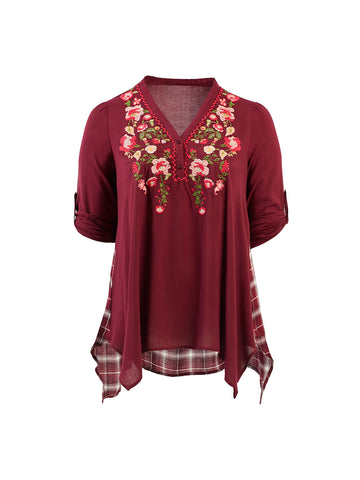 Embroidery Detail Burgundy Top