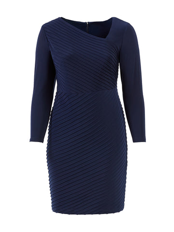 Angled Pintuck Midnight Navy Dress