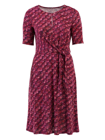 Fuchsia Stroke Print Side Tie Midi Dress