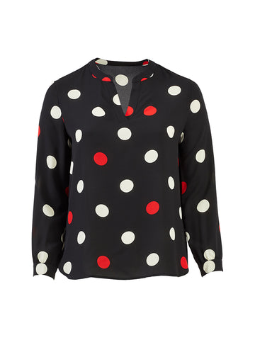 Large Polka Dot Split Neck Blouse