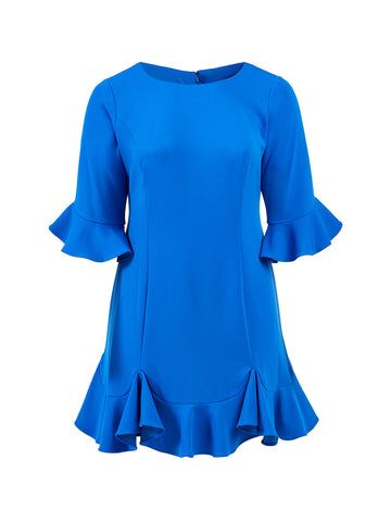 Blue Saphire Ruffle Dress