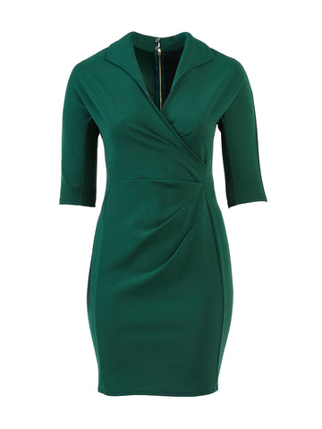 Emerald Green Collared Side Ruched Sheath Dress
