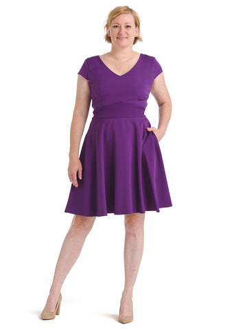 V-Neck Purple Fit And Flare Dress
