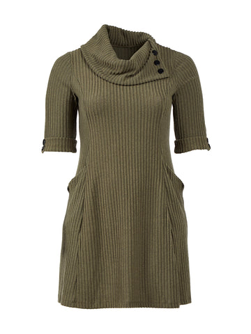 Olive Green Cowl Neck Sweater Dress
