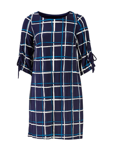 Teal And Navy Plaid Dress