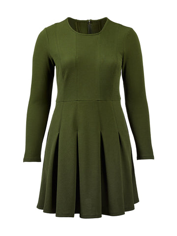 Contrast Stitching Olive Dress