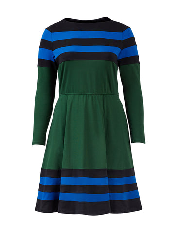 Banded Stripe Color Block Fit-And-Flare Dress