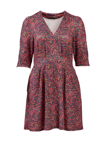 Ditsy Floral Burgendy Dress