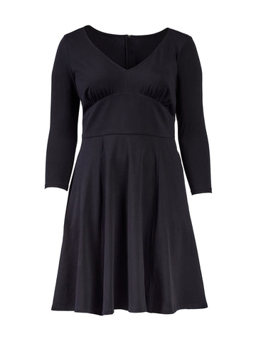 Puff Sleeve Black Fit-And-Flare Dress