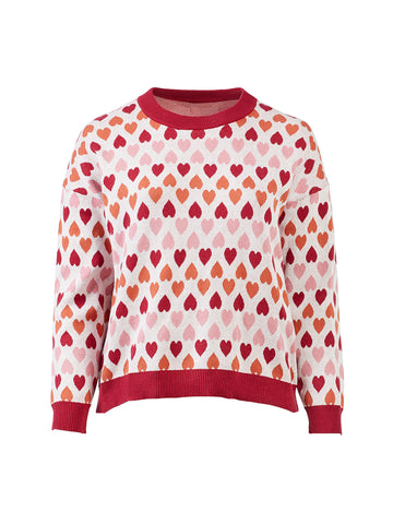 Heart Print Pink Sweater