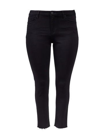 Donna Raw Hem High-Rise Black Skinny Jeans
