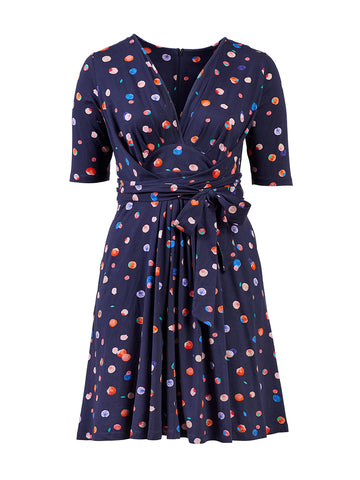 Multi Color Polka Dot Navy Dress