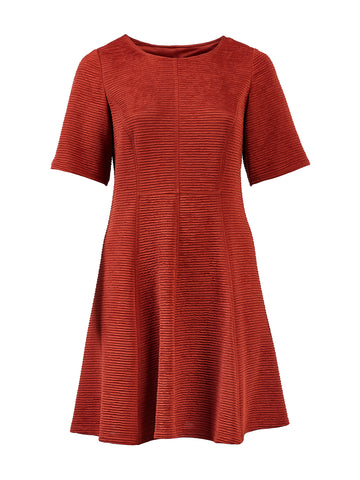 Rust Fit-And-Flare Dress