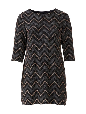 Zig Zag Print Black Dress