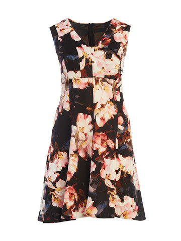 Sunset Pink Floral Fit-And-Flare Dress