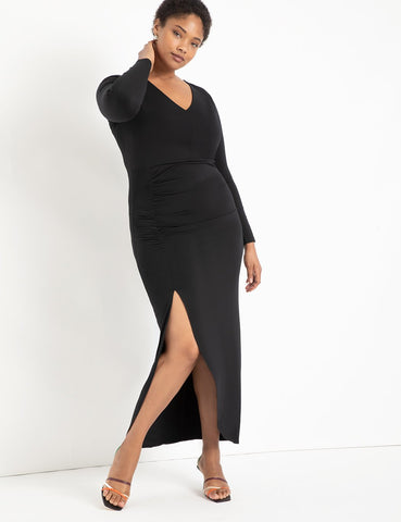 Ruched Gown in Black