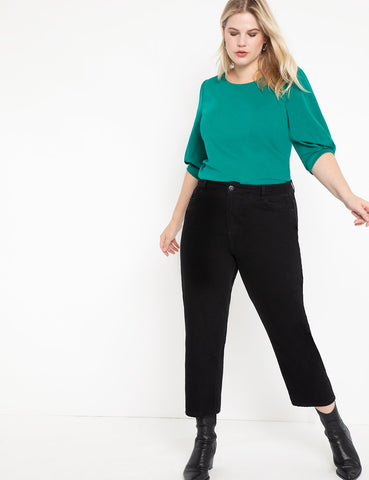 Puff Sleeve Ponte Top in Cadmium Green