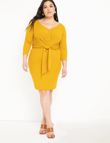 Wide Neck Tie Waist Ribbed Dress in Marigold