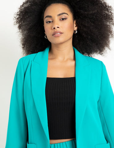 Long Blazer With Pockets in Tropical Green