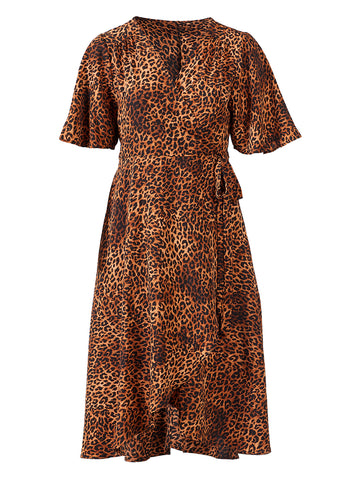 Leopard Print Orna Wrap Dress