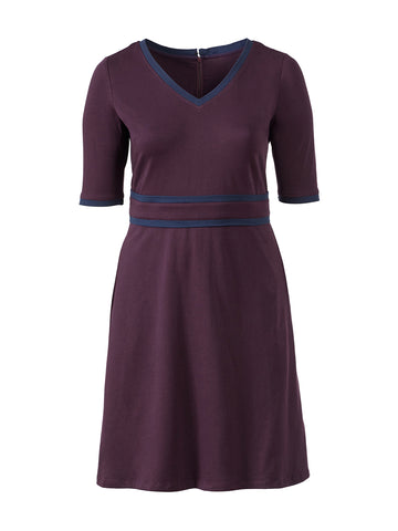 Contrast Trim Purple Fit-And-Flare Dress