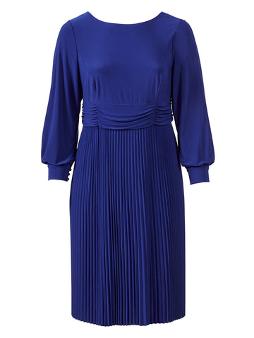 Accordian Pleat Royal Blue Dress Dress