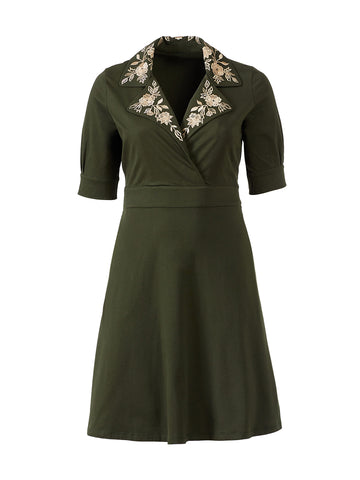 Embroidered Collar Loden Green Dress