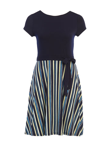 Poolside Stripe With Navy Top Ilana Dress