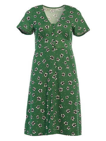Amazon Flowers and Dots Francesca Midi Dress