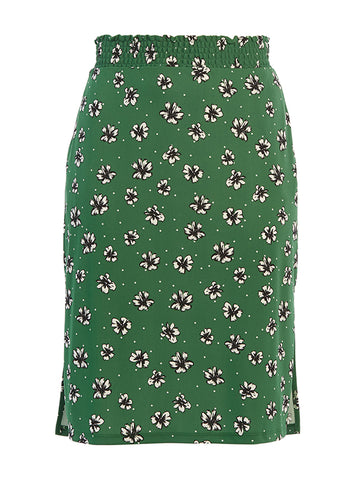 Amazon Green Flowers and Dots Printed Tessa Skirt