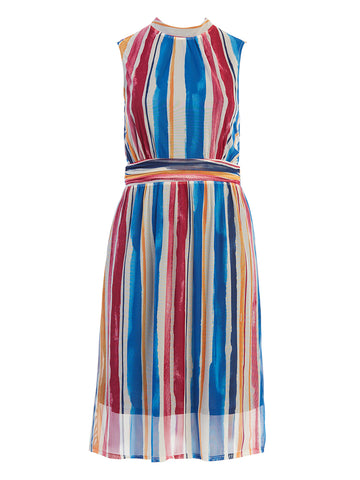 Watercolor Stripe Aria Midi Dress