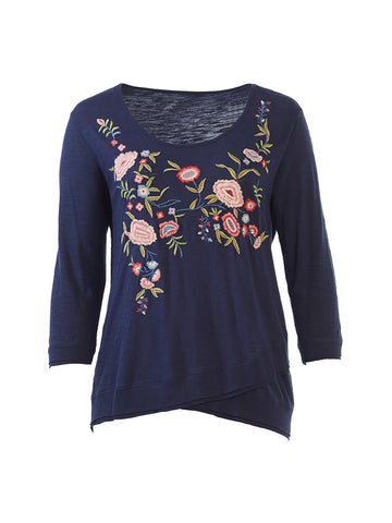 Embroidered Crossover Hem Brie Top