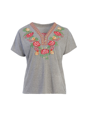 Embroidered V-Neck Amber Top