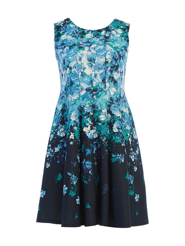 Navy and Teal Floral Printed Scuba Fit-and-Flare Dress