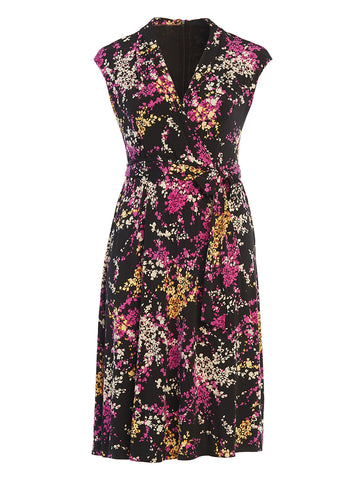 Black and Purple Floral Printed Midi Faux-Wrap Dress