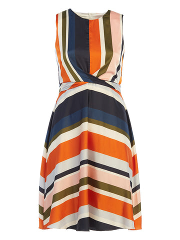 Multi-Stripe Wrap Waist Fit-and-Flare Dress