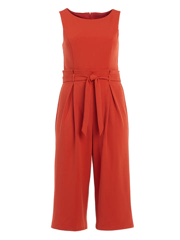 Rust Wide-Leg Crop Jumpsuit