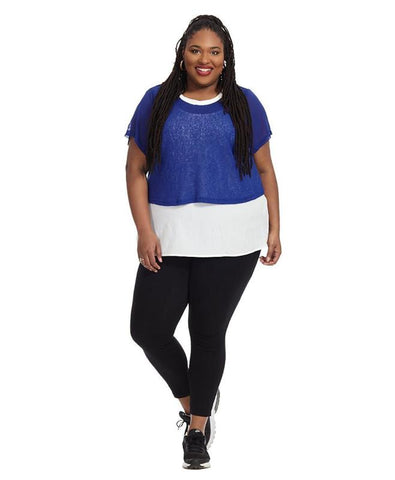 Cropped Overlay Top In Pool Blue