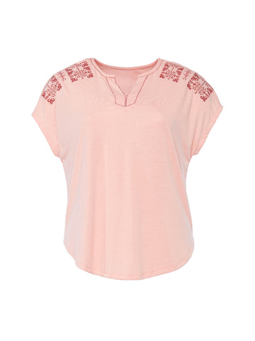 Embroidered Pink Knit Top