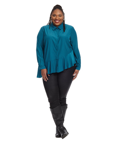 Clea Ruffle Hem Blouse In Teal