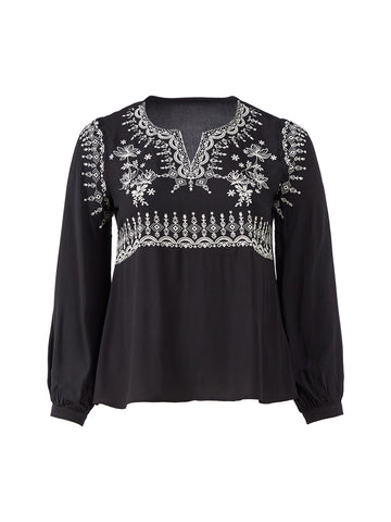 Embroidered Front Black Top