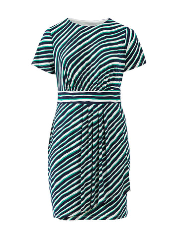 Navy And Green Stripe Dress