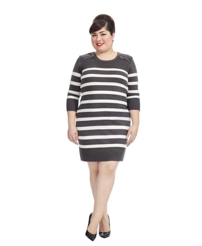 0294363573a Grey Striped Sweater Dress