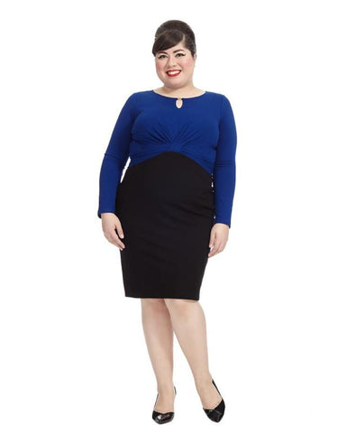 Colorblock Black & Cobalt Twist Dress